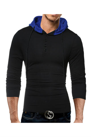 Black Long Sleeve T-Shirt With Hoody
