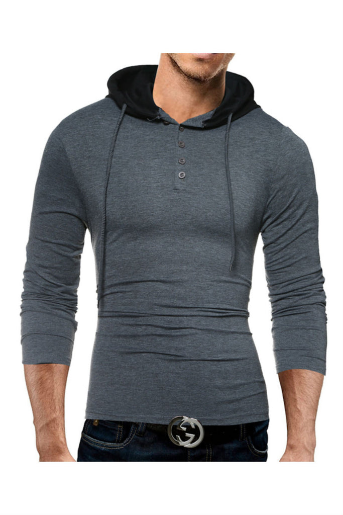 Hooded Grey Long Sleeve T-Shirt