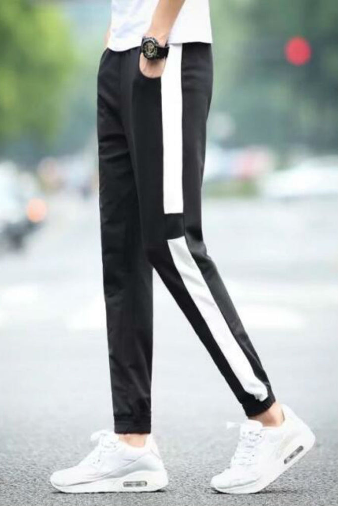 Black White Stripe Harem Pants