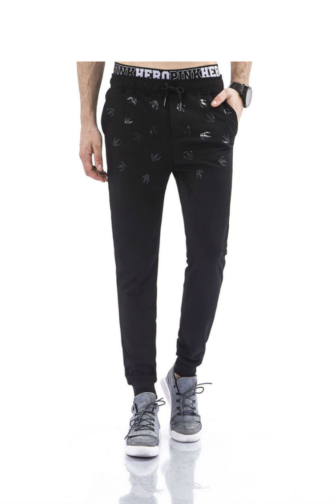 Black Prints Drawstring Pants
