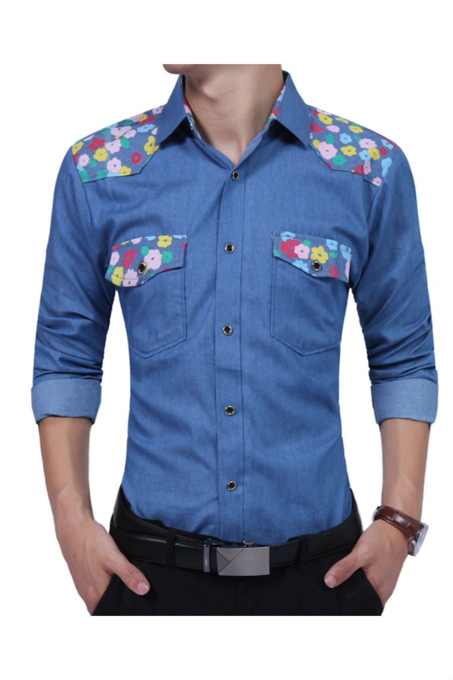 Denim Blue Floral Shirt