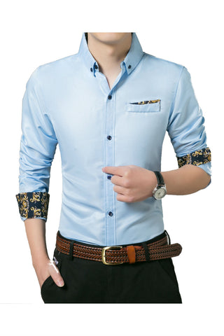 Vintage Pattern Blue Shirt