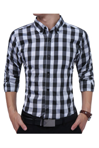 Classic Black White Plaid Shirt