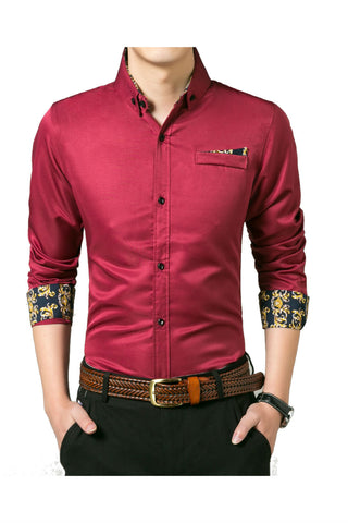Vintage Pattern Burgundy Shirt