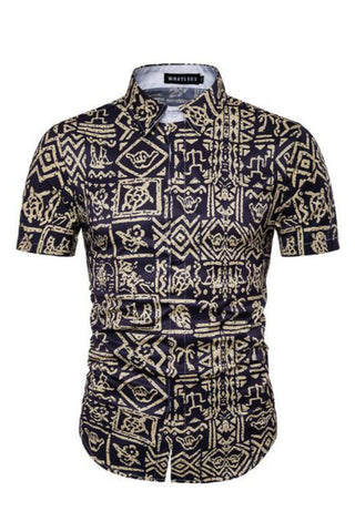 Tribal Printed Short-Sleeved Shirt