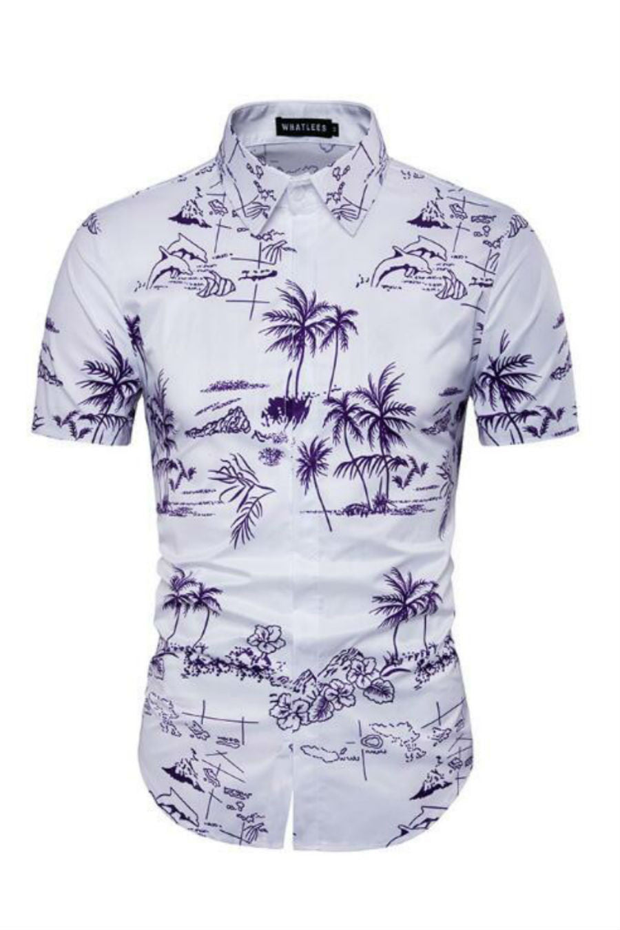 Palm Tree Printed White Shirt