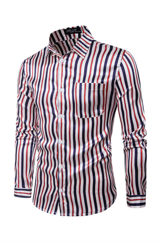 Red Blue Strips Long Sleeve Shirt