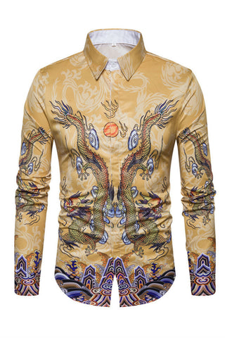 Golden Dragon Print Shirt
