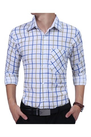 Blue Plaid Slim Fit Shirt