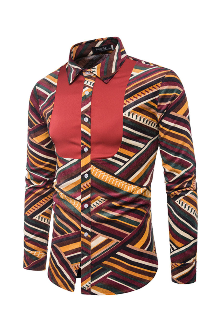 Ethnic Striped Long Sleeve Shirt