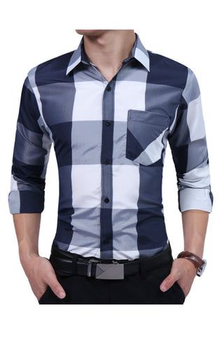 Gray Plaid Slim Fit Shirt