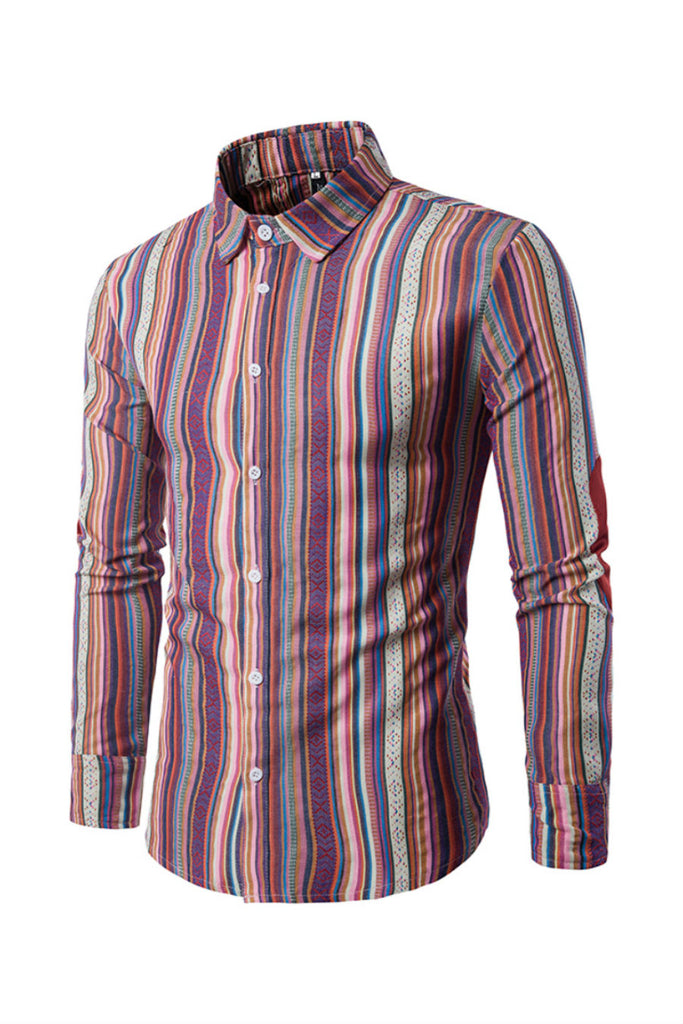 Ethnic Purple Stripe Prints Shirt