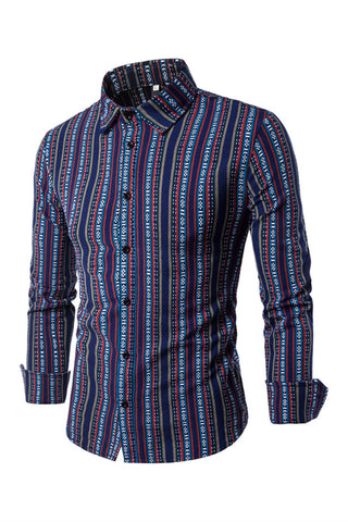 Ethnic Navy Stripe Prints Shirt