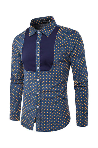 Navy Polka Dots Print Shirt