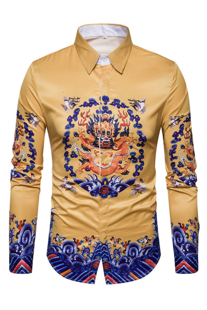 Dragon Print Vintage Golden Shirt