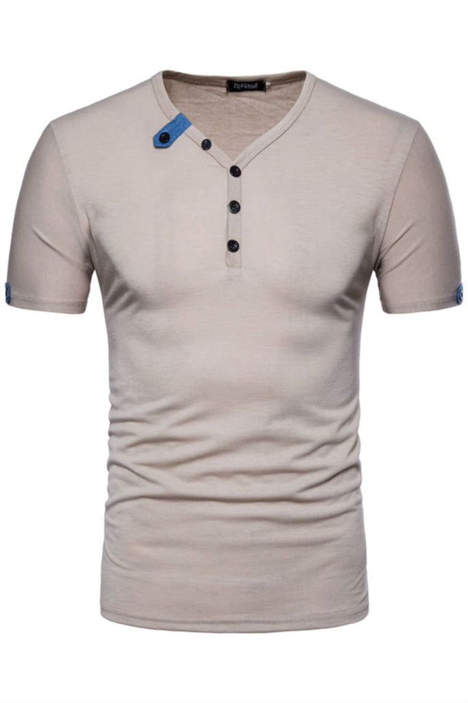 Button Front V-neck T-shirt
