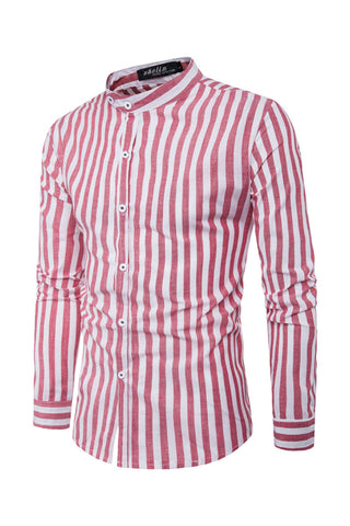Collar Stand Stripe Prints Shirt
