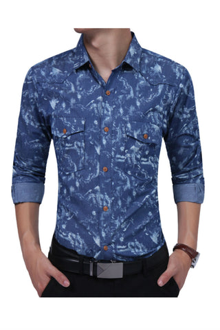 Denim Blue Tie Dye Shirt