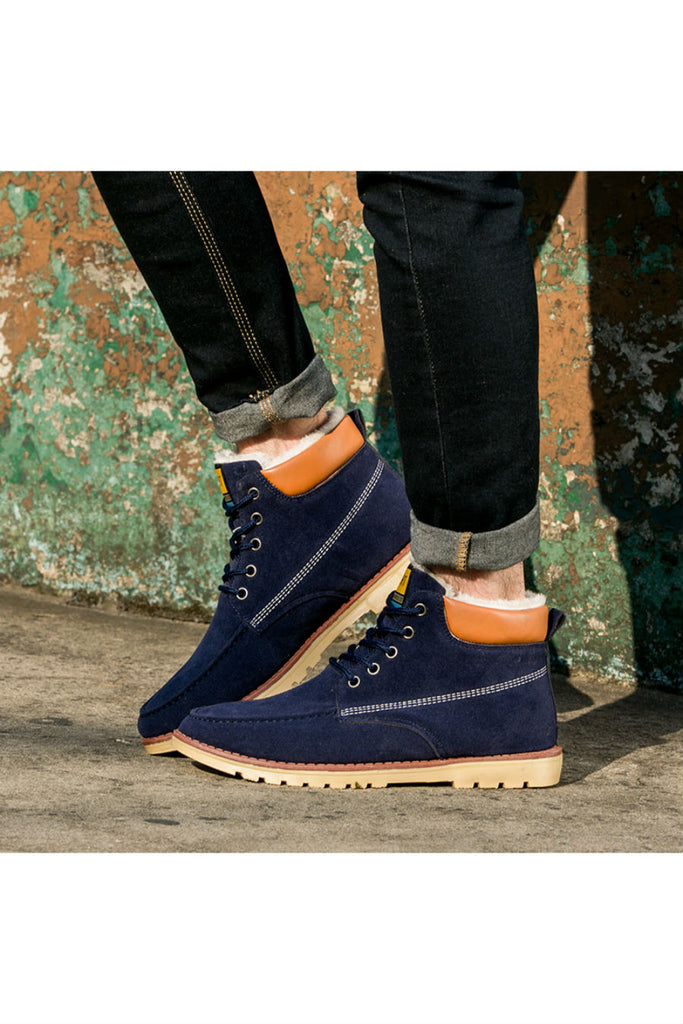 Navy Suede Leather Fleece Boots