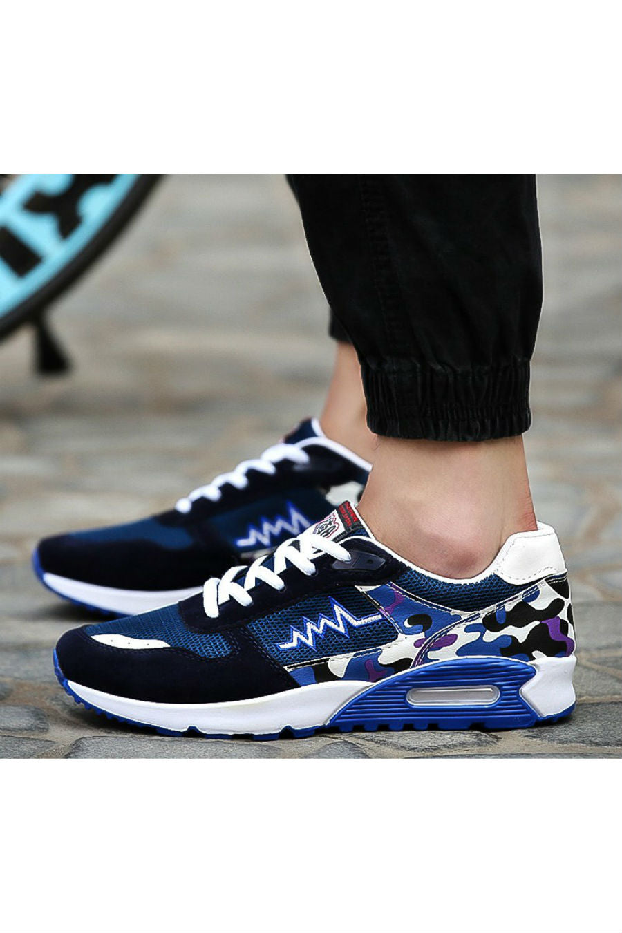 Blue Camo Running Sneakers