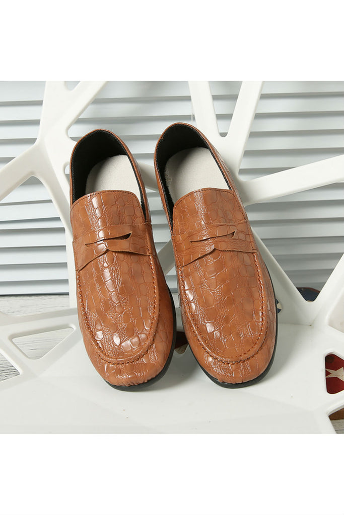 Brown Patent Casual Loafers