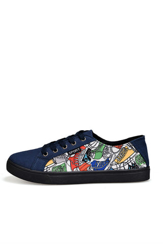 Navy Graffiti Sneakers