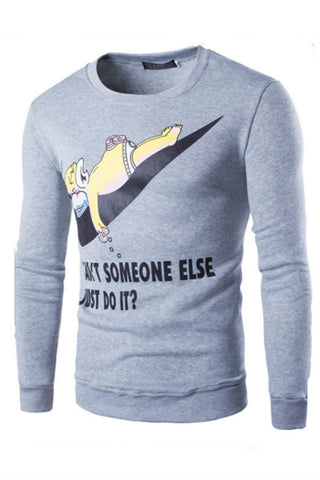 Cartoon Print Crewneck Sweater