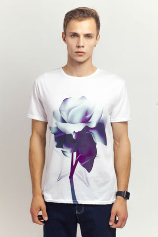 Rose Printed White Tee