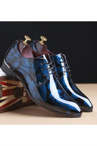 Floral Pattern Dress Shoes In Blue