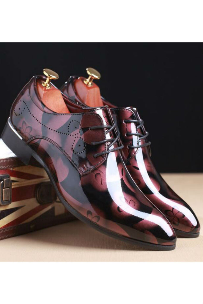 Patent Dress Shoes In Burgundy