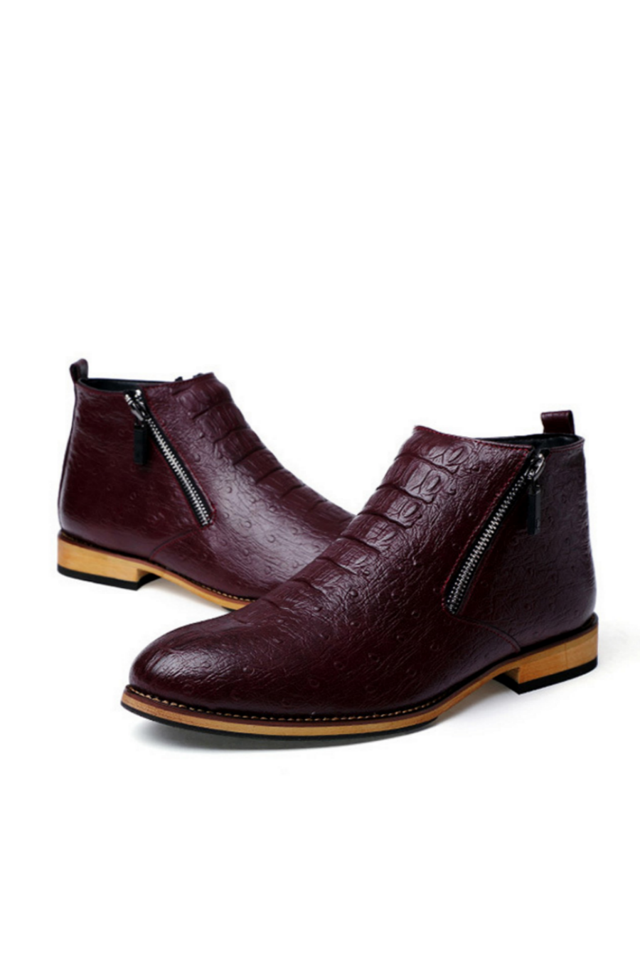 Zippered  Leather Burgundy Boots