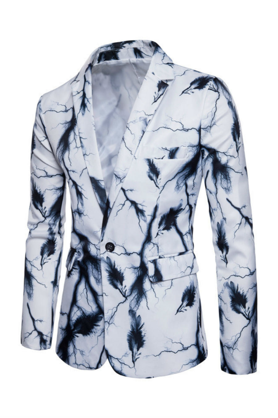 Feather Print White Blazer