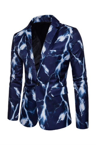 Feather Print Blue Blazer
