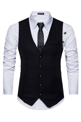 Elegant Black Slim Suit Vest