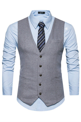 Elegant Grey Slim Suit Vest