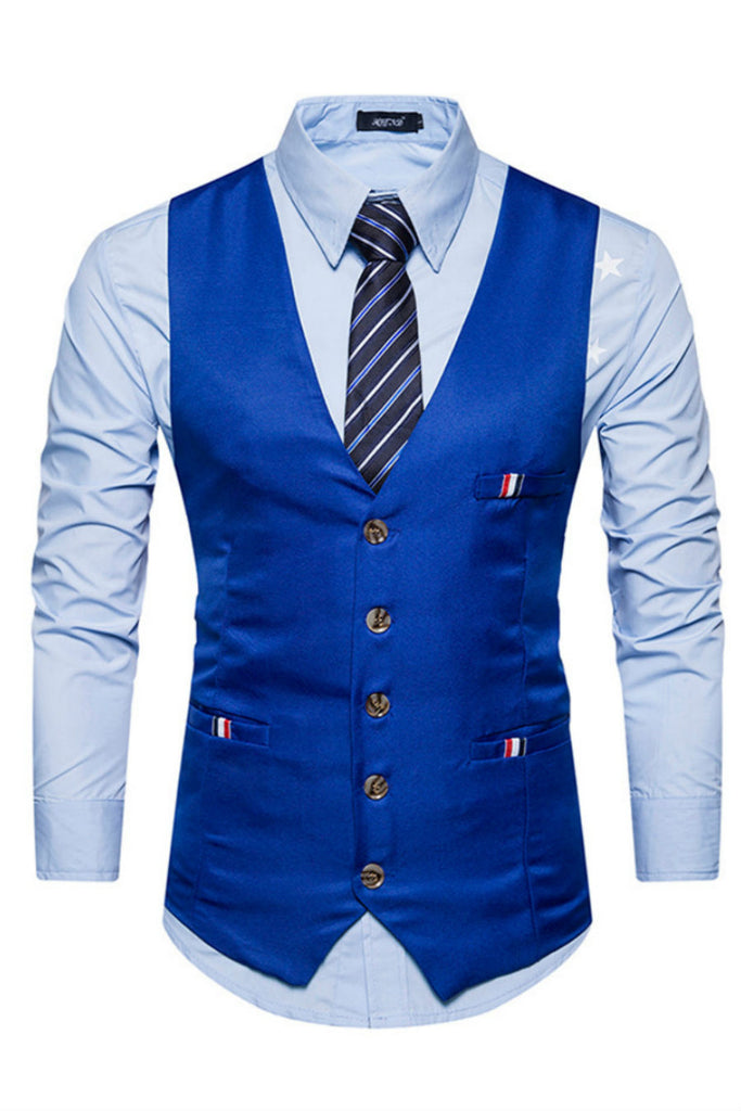 Royal Blue Slim Fit Suit Vest