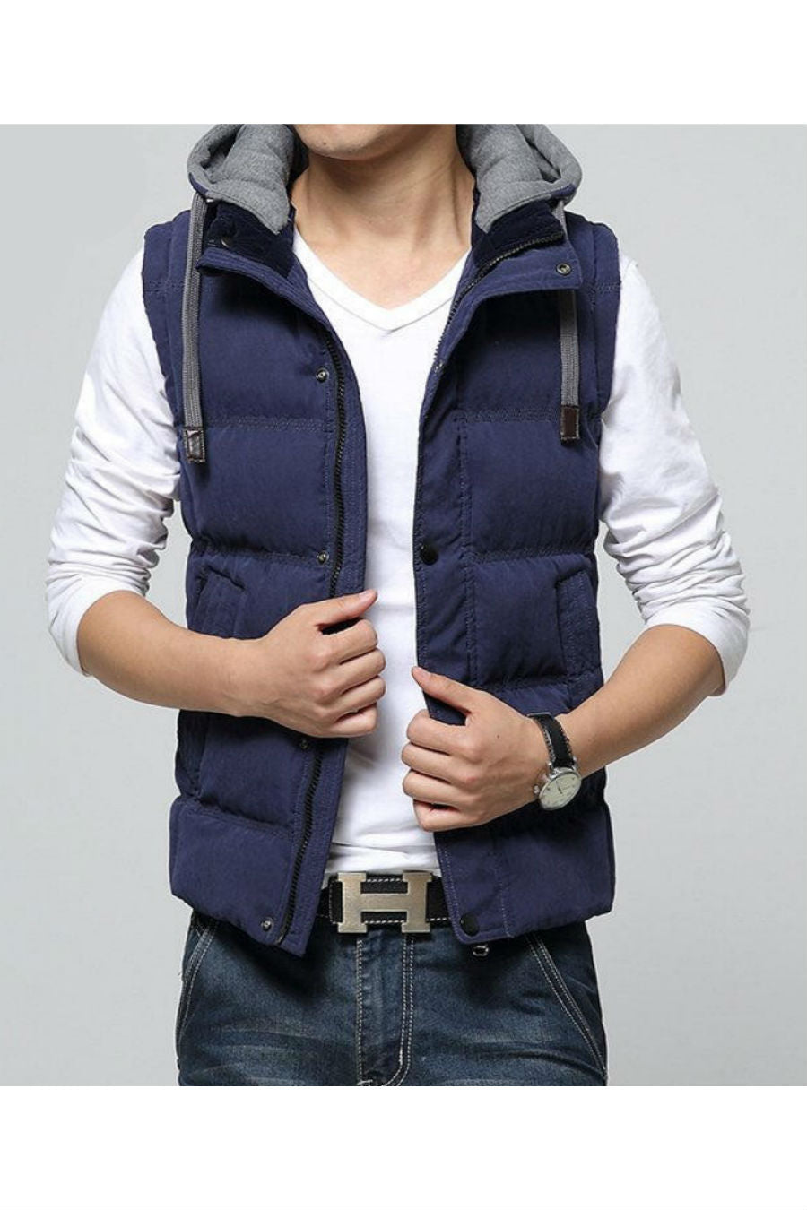 Navy Slim Fit Warm Vest