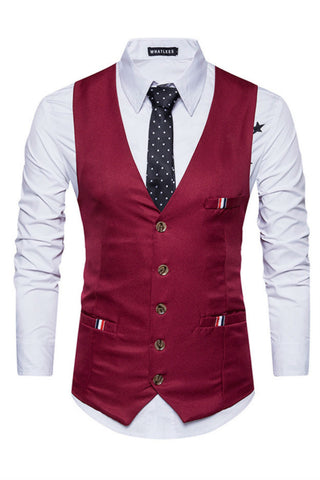 Burgundy Slim Fit Suit Vest