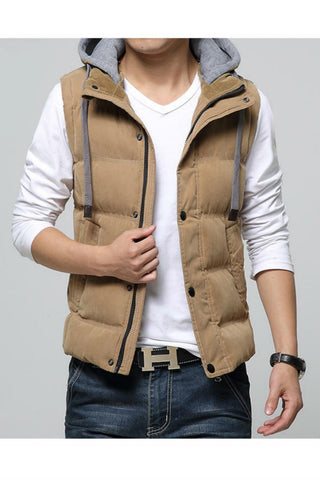 Khaki Slim Fit Warm Vest