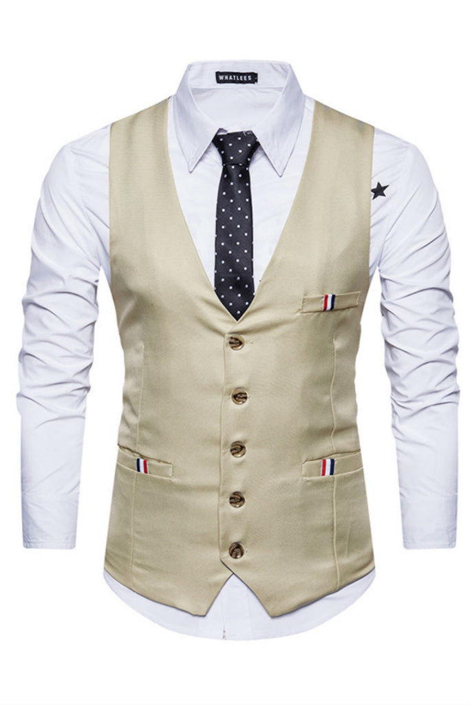 Khaki Slim Fit Suit Vest