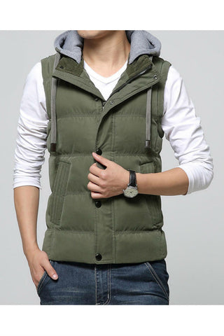Army Green Slim Fit Warm Vest