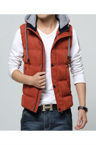 Orange Slim Fit Warm Vest