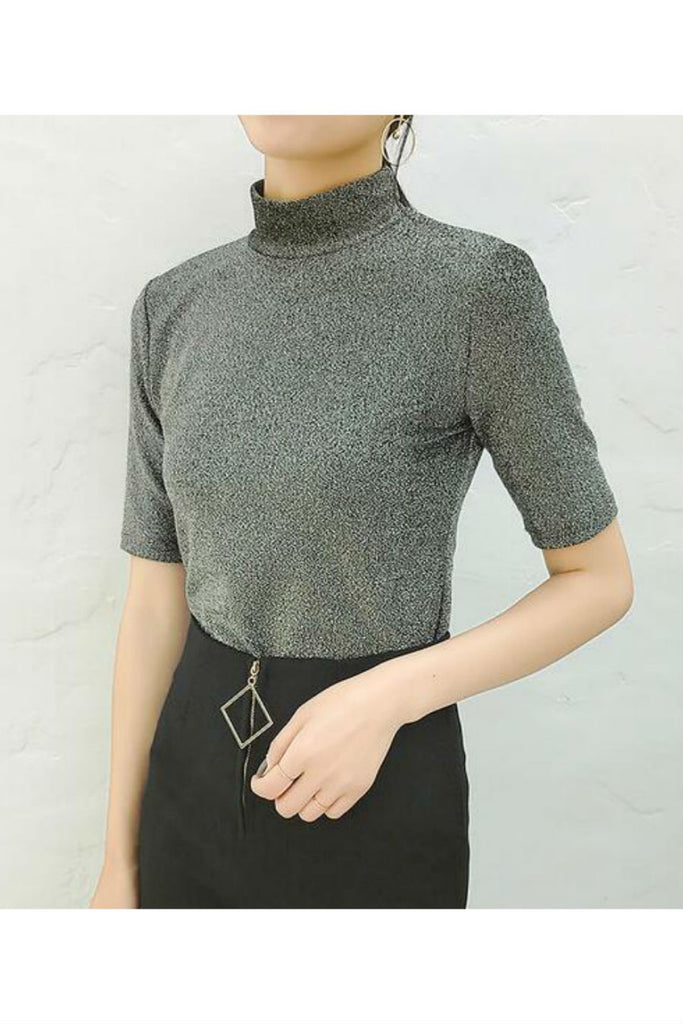 Short Sleeved Metallic T-shirt