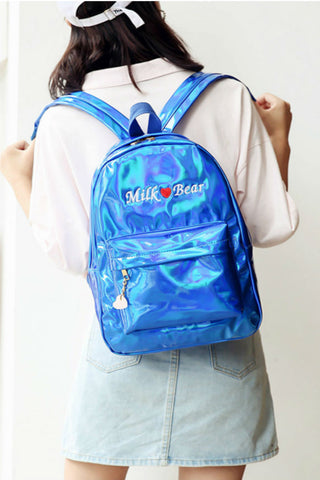Hologram Milk Bear Embroidery Backpack