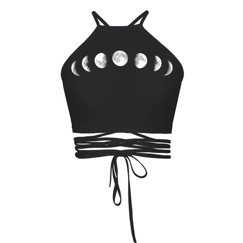 Moon Phases Wrap Halter Top