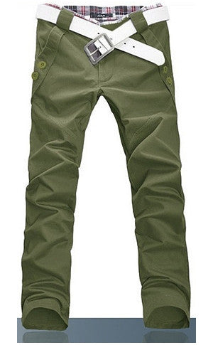 Man Slim Fit Army Green Pants