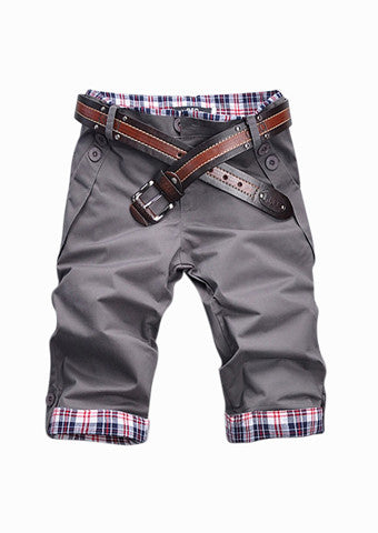 Man Slim Fit Grey Shorts