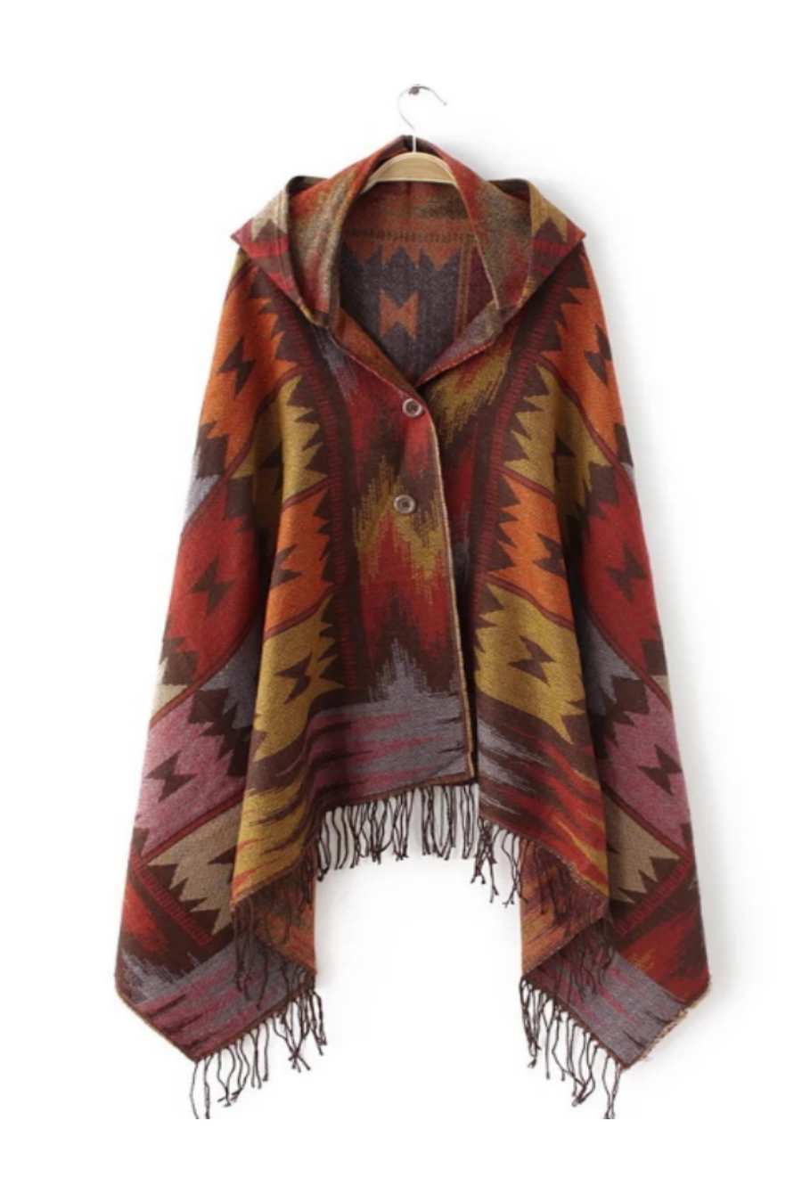 Ethnic Pattern Hooded Scarf