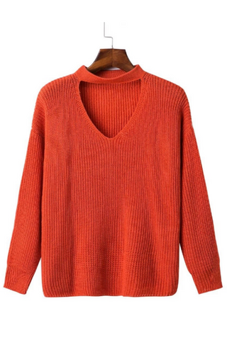 Orange Red V-neck Knitted Sweater