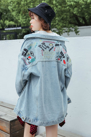 Embroidery Oversize Denim Jacket